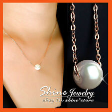 18K ROSE GOLD GF P126 SOLITAIRE PEARL ENGAGEMENT WEDDING SOLID PENDANT NECKLACE