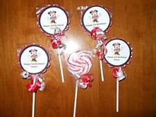 24 Disney Minnie Mouse Red Bow 2nd 3rd 4th Birthday Swirl Candy Lollipop Favors