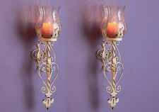 2 Metal Hurricane Wall Sconce Antique Vintage Scroll Candle Votive Holder Decor