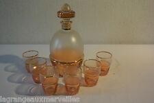Ancienne carafe et 6 verres à alcool cognac armagnac Grand Luxe Belgique vintage