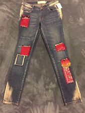 NWT Rare FREE PEOPLE Jeans Sz 27 Boho Hippy  ARTISAN PATCHES BLEACH DISTRESSED
