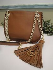 MICHAEL KORS WHIPPED CHELSEA SMALL MESSENGER CROSSBODY BAG LEATHER BROWN $278