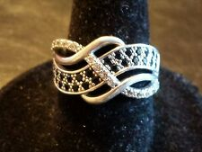 Avon Sterling Silver Woven Openwork Black/Clear CZ Ring Size 7