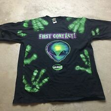 90s VTG ALIEN Space ET Aliens UFO XL All Over Print SCI FI T Shirt Skate Grunge