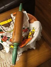 vintage wooden rolling  pin green handle