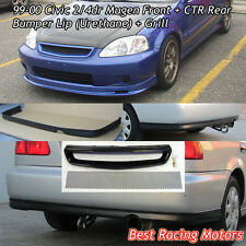 Mu-gen Style Front (PU) + CTR Rear Lip (PU) + Grill (Mesh) Fits 99-00 Civic 4dr