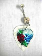 WILD SINISTER SKULL w OPEN RED ROSE PRINTED GUITAR PICK 14g CLEAR CZ BELLY RING
