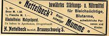 H. Nettelbeck Braunschweig STÄRKUNGS- u. NÄHRMITTEL Historische Reklame von 1907