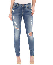 NWT  7 For All Mankind The Skinny w/ Contrast Squiggle & Destroyed Size 24 $225