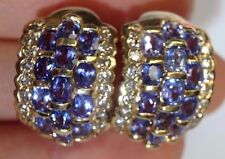 Wow! Sparkling! Tanzanite and Diamond 14K Gold Large Wide Cuff Earrings