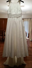 Never Worn Ivory Sleeveless Halter Taffeta Wedding Gown by David's Bridal sz 14
