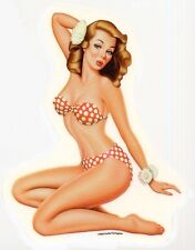 SEXY VINTAGE Nostalgic PIN-UP GIRL red white polka dot BIKINI STICKER/DECAL