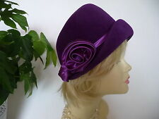 HUT  ✿ Lila Satin Rose ✿ Cloche 100% Wolle Hat Chapeau