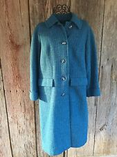 HARRIS TWEED Women's 100% Wool Long Coat Jacket Blues Teal M L Vintage