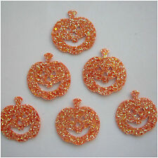 Die Cut Glitter Fabric Pumpkins - 6 per Pack - card topper/halloween