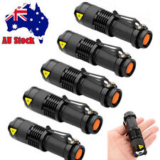 Bright 5x CREE Q5 LED Zoomable Focus Flashlight Torch 1200LM Lamp Light AA/14500