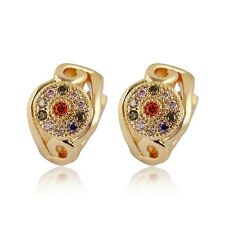 New Fashion Womens CZ Earrings Wholesale 18K Yellow Gold Filled Jewelry Gift HOT