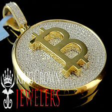 Real 14K Yellow Gold On Sterling Silver Lab Diamond Bitcoin QR Pendant Medallion