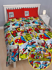 MARVEL COMICS SUPER HEROS SPIDERMAN HULK fits QUEEN bed QUILT DOONA COVER SET