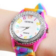 reloj de pulsera de las mujeres del reloj del arco iris LED multicolor Mujer