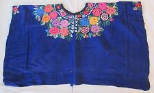 Embroidered Guatemala Traditional Women's Huipil Bright Blue Multicolor Flowers
