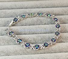 18K White Gold Filled -Blue MYSTICAL Rainbow Topaz Flower Set Gemstone Bracelet