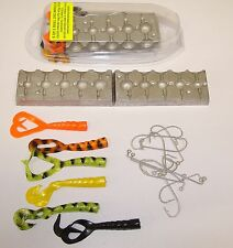5 in 1 COMBINED BALL JIG HEAD MOULD WITH TAILS AND 3/0 HOOKS