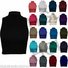 WOMENS LADIES SLEEVELESS POLO TURTLE NECK STRETCH CROP VEST TOP SIZE 8 10 12 14