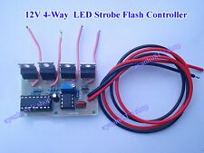 12V 4 Way LED Strobe Flash Controller Kits Lamp Light Dashboard Flasher Module