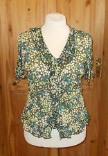 M&S brown green ivory off-white chiffon floral short sleeve blouse tunic top 16
