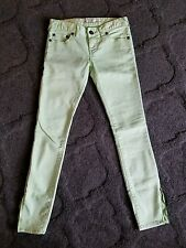 FREE PEOPLE Mint Green Cotton 5-Pocket ZIP ANKLE Solid Skinny Jeans WOMENS SZ 24