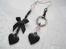 *MISMATCH JET BLACK LOVE HEART BOW PINK BEAD* Gothic Long Drop SP Earrings Dita