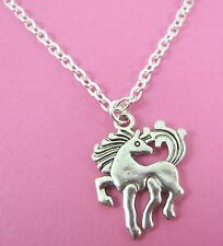 """Girls Silver Pony Horse Charm Silver Plated 18"""" Necklace New in Gift Bag"""