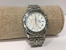 Vintage Reloj Watch Montre LOTUS Chronograph Quartz 38mm Steel WR 50M - White