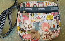 RARE LeSportsac Small Crossbody Shoulder Bag On the Rode Girls Travel Cat Print