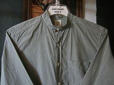 SMALL 14.5-33/34 COTTON OLD NAVY PLAID CHECKED BANDED COLLARLESS WESTERN SHIRT