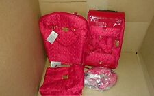 JOY MANGANO THREE PIECE QUILTED LUGGAGE SET WHEELED DUFFLE CARRY ALL/BAG RED