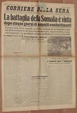 CORRIERE DELLA SERA 18 AGOSTO 1940 VITTORIA SOMALIA PASSO JERATO TODT PEPERE