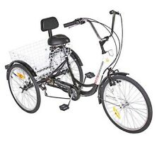 "NEW 3-Wheel Adult 24"" Tricycle 7-Speed Shimano Gears Bike Bicycle ~ Black"