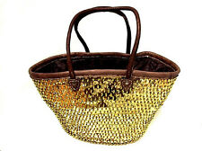 Fashion Sparkling Gold Golden Sequin Leather & Straw Tote French Bag Handbag XXL
