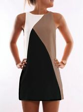 Womens Summer Block Casual Sleeveless Evening Party Cocktail Short Mini Dress