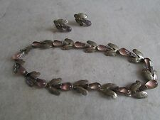 RARE ANTIQUE AMETHYST MEXICO MEXICAN STERLING SILVER NECKLACE + EARRINGS TAXCO