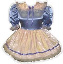 """Makayla"" Custom Fit PINK & LILAC SATIN Adult LG Baby Sissy Dress LEANNE"