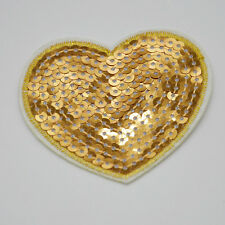 2pc Golden Heart Embroidery Iron on patch sewn applique Embroidered DIY Motif