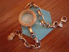 "Authentic Origami Owl Gold w/Crystals Twist Locket & 8"" Link Locket Bracelet ^"