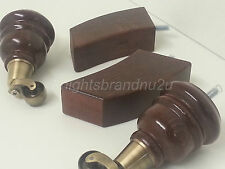 Set Of 4 Wooden Feet Sofa Setee Chair Leg Mahogany With Antique Brass Castors