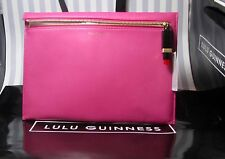 Lulu Guinness Smooth Leather Magenta Pink Naomi Clutch Bag Lipstick Zip RP £225