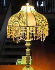 Ornate Tassel Satin Embroidered Lace Scallop Shade Boudoir Lamp Ivory Victorian!