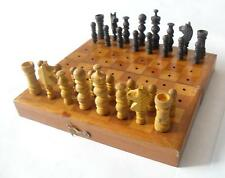 tramp art ? trench art ? pow ? ww2 ? ww1 ? Antique wooden chess vintage retro