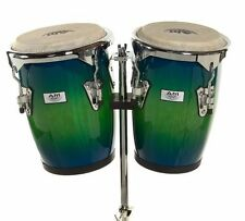 "AM Percussion 9"" & 10"" Bongo Conga Combo Set with Stand - BLUE GREEN REAL SKIN"